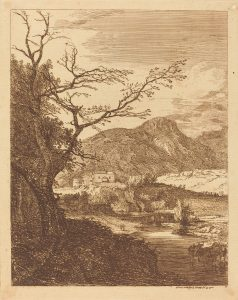 Paul Sandby (British, 1731 - 1809 ), Landscape with Tree in Left Foreground, 1750, etching, Ailsa Mellon Bruce Fund 1974.54.12
