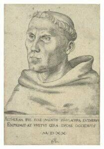 Portret van Martin Luther als Augustijner monnik | Lucas Cranach, 1520